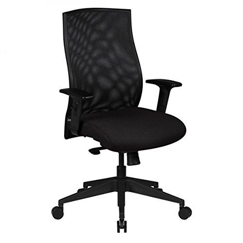 Bürostuhl Ergonomisch DAVIS 8h Stoff Sitz Schwarz mit Armlehnen | Drehstuhl mit Synchronmechanik Höhenverstellbar, Drehbar, Wippfunktion | Büro Sessel bis 120KG mit 80.000 Scheuertouren ?
