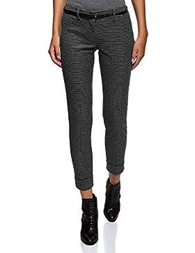oodji Ultra Mujer Pantalones con Dobladillos y Cinturón