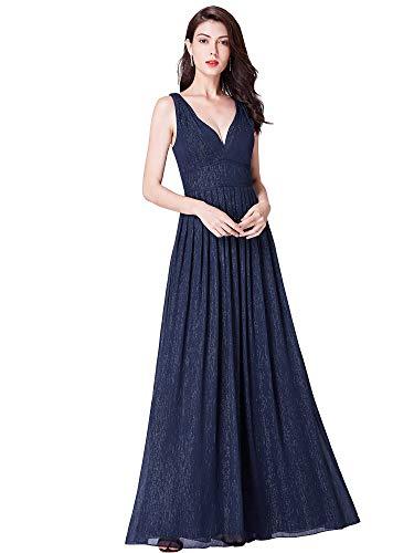 Ever-Pretty Grand V Robe de Soirée Longue Femme en Mousseline de Soie Brillant Bleu Marine 38