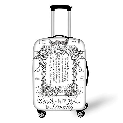 Travel Luggage Cover Suitcase Protector,Occult Decor,Gothic Medieval Magic  and Spell Symbols Eternal Life Ritual Chart Art Theme,White Black,for