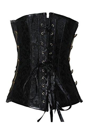 r-dessous Vintage Corsage schwarze Korsett Shirt Bustier Korsage Top Steampunk Corsagentop Gothic Rockabilly Groesse: XXL - 2