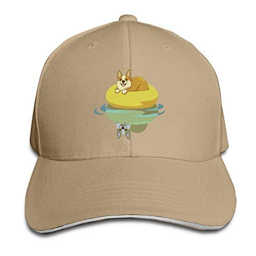 Quakess Sommer Corgi Baumwolle Leichte Adjustable Peaked Baseball Cap Sandwich Hat Männer Frauen, Natürlich, OneSize