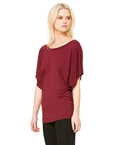 Bella+Canvas: Flowy Draped Sleeve Dolman T-Shirt 8821 Rot - Maroon