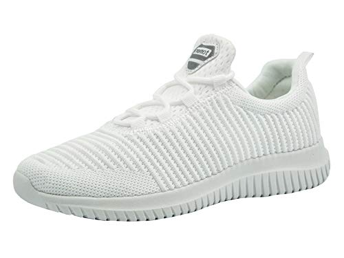 Riemot Zapatillas Deportivas de Hombre Mujer Zapatos para Correr Deporte Tenis Running Fitness Gimnasio Súper Ligero Bambas Sneakers Calzado Casual Blancas EU 38