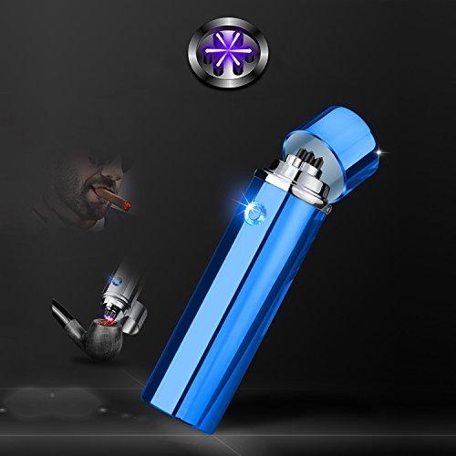 Accendisigari cilindrico con tecnologia a triplo arco elettrico, senza fiamma, a prova di vento, ricaricabile tramite USB, un accendino con bobina al plasma ideale come regalo di compleanno o di Natale per uomini, Blue