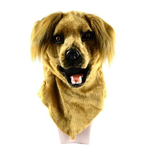 XIANCHUAN Simulation Gelbe Hundemaske für Halloween Hohe Qualität Kaliber Beweglicher Mund Tierkopf Masken Party Requisiten Lustige Atmungsaktive Kostüm (Color : Yellow, Size : 25 * 25)