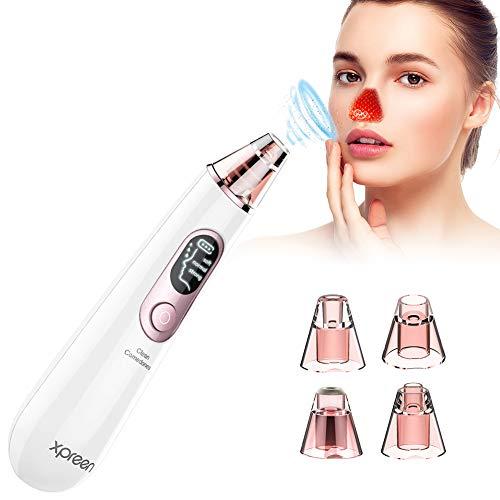 Porenreiniger, Xpreen Mitesserentferner Electric Porensauger - Wiederaufladbarer Mitesser Sauger Skin Vacuum Cleaner Pore Cleanser Gesicht Reinigung mit LED-Bildschirm und 4 Sonden und 3 Modi (Vakuum Bürsten)