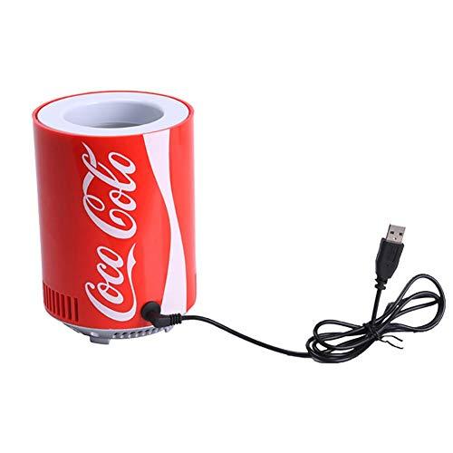 Brownrolly Tragbarer Auto-Kühlschrank, Koks-Dosen-Mini-USB-Kühlschrank-Kühlschrank, Getränkekühler-Kühlbehälter für Büro-Schlafzimmer-Schule