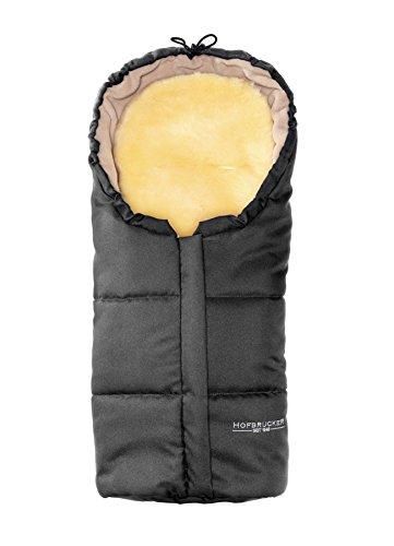 *Hofbrucker Lammfell-Fußsäckchen Leni für Babyschale, Lammfellfußsack Made in Germany, Design:grau*