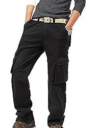 Roludom Hombres Pantalones Cargo pantalones de al aire libre Plus Size