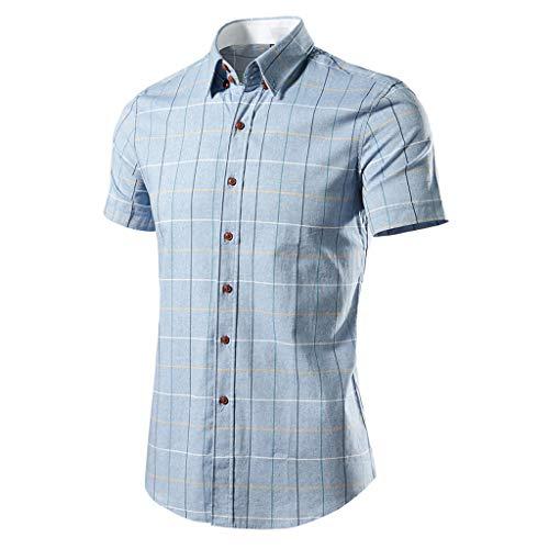 GreatestPAK Herren Plaid Print Shirts Lässig Mode Business Kurzarm Tops,Blau,M (Converse Hi-top Pink)