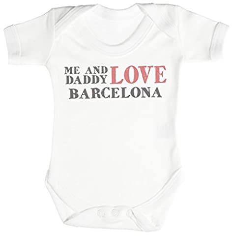 TRS - Me & Daddy Text Love Barcelona Baby Bodys / Strampler 6-12 Monate weiß
