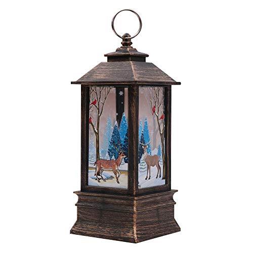 Teepao Weihnachts-Laterne mit LED-Beleuchtung, dekorative Schneeflocken-Lampe, batteriebetrieben, für Innen- und Außenbereich, Weihnachten, Festival-Dekoration L-Bronze-Deer -