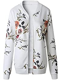 12709f04e53 HLHN Women Jacket Hoodies Coat Floral Long Sleeve Windbreaker Casual Zip  Outwear Winter