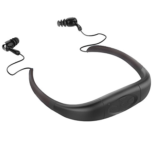 IPX8 wasserdichter MP3 Musik Player Kopfhörer 8GB Speicher Sporting Kopfhörer mit FM-Radio und Akku für Schwimmen Tauchen Surfen Laufen und andere Outdoor-Aktivitäten(Schwarz)