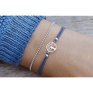 Twist-Armband Lebensbaum IV mit Kugelkette 925
