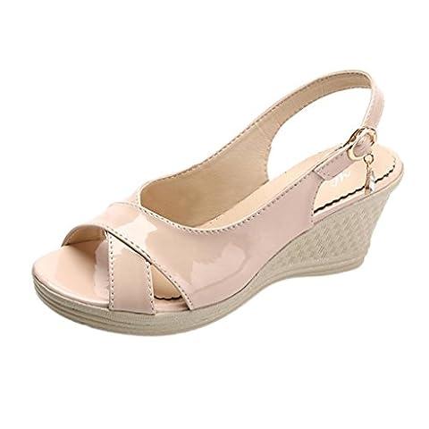Femmes Sandales,OverDose Sandales à Talons Et Semelles CompenséEs Peep Toes Style (40, Kaki)