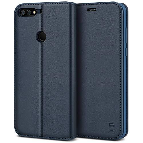 BEZ® Hülle für Huawei Y7 2018Hülle, Handyhülle Kompatibel für Huawei Y7 2018 Tasche, Case Schutzhüllen aus Klappetui mit Kreditkartenhaltern, Ständer, Magnetverschluss, Blau Marine