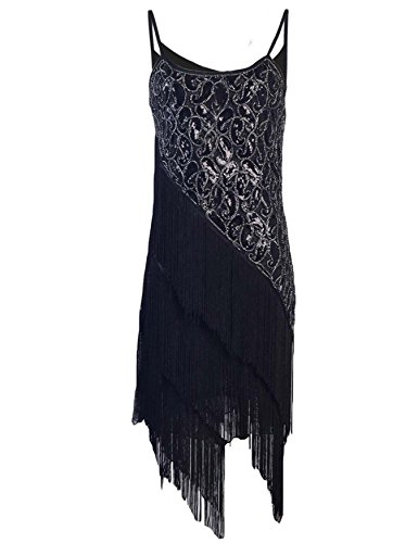 Kayamiya Damen 1920er Pailltte Muster Tiered Quaste Gatsby Flapper Kleid M (Party Gatsby Kleid)
