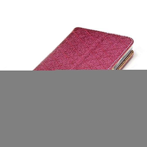 Funda Galaxy J5 2016,TOUCASA® PU Cuero Billetera Ranuras para Tarjetas y Billetera TPU Silicona Case Interna Suave Diseño de Patrón de amor del corazón Diseño de líneas a rayas y cuadros nueva llegada Magnético Función Delgado Funda para Samsung Galaxy J5 2016-Color rojo