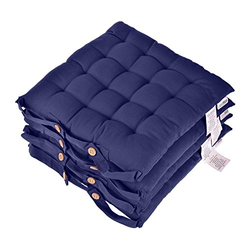 Homescapes Navy Blue Seat Pads for Dining Chair, Set of 4 100% Cotton Chair Pads with Straps, 40x40 cm