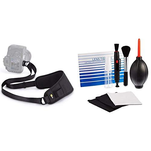Case Logic SLR Quick Sling Slider-Strap Kamera Schultergurt (universal passend) schwarz & AmazonBasics - Reinigungsset für DSLR-Kameras und empfindliche elektronische Geräte Case Logic Slr Sling