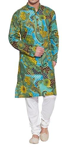 ShalinIndia Männer Baumwoll Lange Kurta Nehru Kragen 3 Taschen, M-CLK42-1009, Grün, (Kostüme Paar Gute 2017)