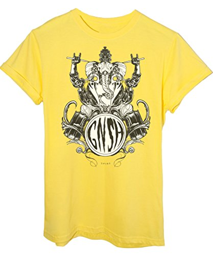 T-Shirt GANESH BATTERISTA YOGA - DIVERTENTE - by SPIKE GRAPHIX Giallo