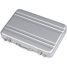 Ewin24 Pack de 2 de aluminio plateado Mini Maletín contraseña negocios Case la tarjeta de crédito del Banco