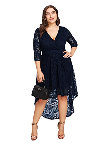 ESPRLIA Women's Plus Size V Neck 3/4 Sleeve Bridesmaid Swing Party Formal Lace Dress