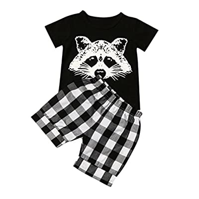 Kolylong Toddler Baby Boy Lovely Raccoon T Shirt Tops Plaid Shorts Pants Outfits Clothes Set For 1-4Year : everything five pounds (or less!)