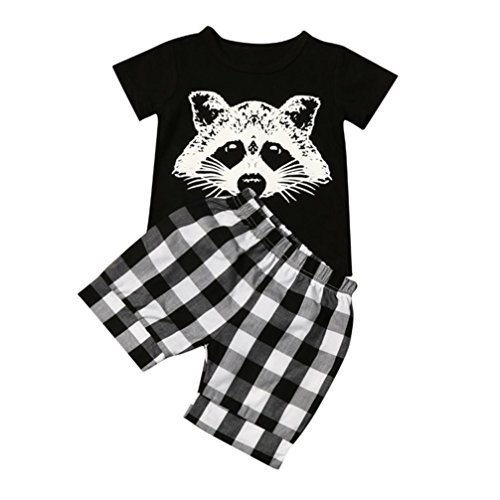 Kolylong Toddler Baby Boy Lovely Raccoon T shirt Tops Plaid Shorts Pants Outfits Clothes Set for 1-4Year (3Y, Black)
