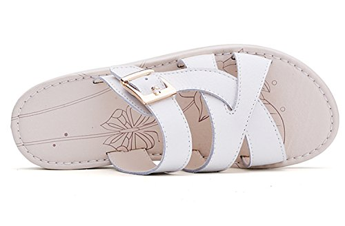 Moderne Sommer Damen Flach Plateau Draußen Slip On Dicke Sohle Einfache Weiche Sohle Gummi Anti Rutsch Strandschuhe Sandalen Weiß