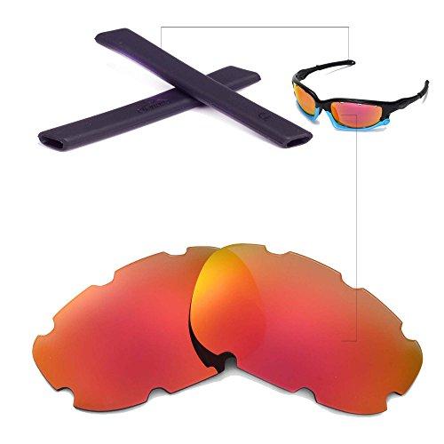 Walleva Belüftet Wechselgläser Und Earsocks für Oakley Split Jacket Sonnenbrille - Mehrfache Optionen (Smaragd Polarisierte Linsen + Schwarzer Gummi)