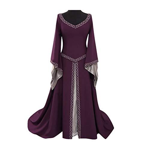 Damen Langarm Mittelalter Kleid Gothic Victorian Queen Kostüm Slash Neck Prinzessin Renaissance bodenlangen Multicolor Kleider Cosplay (Slash Kostüm Frauen)