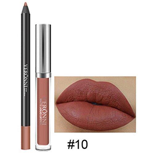 Rouge à Lèvres, Tefamore Longue Durée de Rouge à Lèvres Imperméable à L'Eau Mat Liquide Gloss Lip Liner Set de cosmétiques (10#)