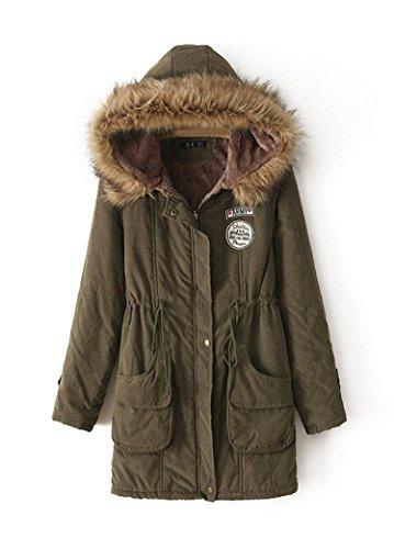 YouPue Mujeres Abrigo Parka con Capucha de Faux Fur Felpa Gabardina Chaqueta Coat Espesan para Mujer Cálido Invierno Ejercito Verde S