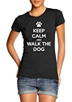 Keep Calm And Walk The Dog Funny Pet Lover T-Shirt Womens Gift Tee