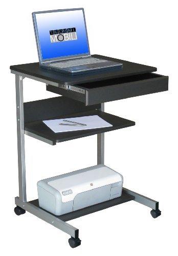 22-Inch Wide Mobile Laptop Desk in Graphite Finish w Shelves by Techni Mobili -