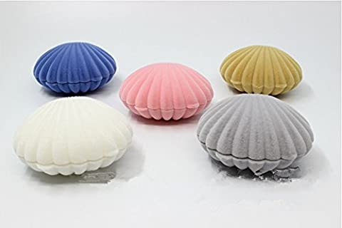 XICHEN® 5 PCS Shell jewelry boxes Flocked Earring Gift Box Jewelry Display, pink, blue, apricot yello w,gray,white