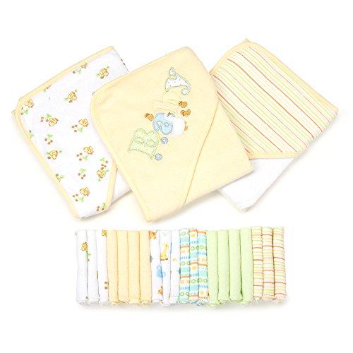Spasilk 23-Piece Essential Baby Bath Gift Set, Yellow (Hooded Spa Terry Roben)