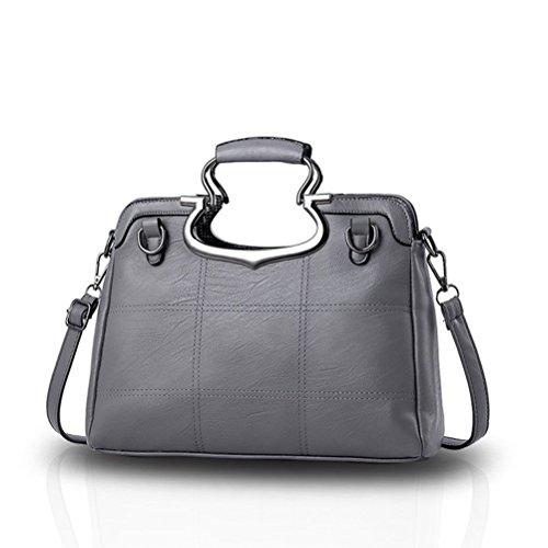 Honeymall Damen neue Welle Paket Leder Handtasche Designer Tasche Messenger Handtasche Henkeltasche Geldb Tote Satchel Frauen(Rot) Grau