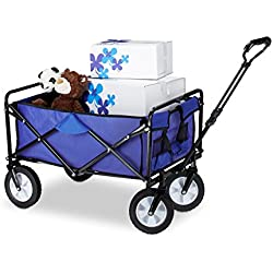 Relaxdays – Carrito de madera plegable, mano carro, estante, Giratorio 360 °, H x B: aprox. 55 X 83 X 51,5 cm), color azul