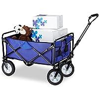 Relaxdays Bollerwagen faltbar, Handwagen, Einlegeboden, 360 ° drehbar, H x T x B: ca. 55 x 83 x 51,5 cm, blau