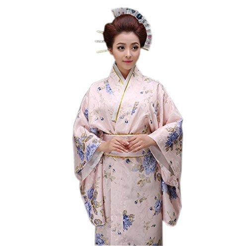 YueLian Kimono Floreale Costume Giapponese Dona, Unica Taglia, 3 Colori Fiori blu
