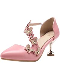 Coolcept Zapatos Mujer Clasico Hebilla Al Tobillo Fiesta Vestir Tacon Ancho Medio Sandalias (39 EU, Pink)