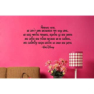 Around Here We Dont Look Backwards For Very Long - Walt Disney Quote ... Family Quote.. Inspirational Words.. Vinyl Wall Art Sticker Decal Mural Any Colour Just Message us. 100cm x 50cm Vinyl Wall art Decal Sticker Kids Bedroom BABY NURSERY KITCHEN LIVING ROOM BATHROOM Perfect For Wedding Present....