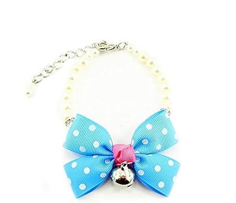 Meijunter 5Pcs Adjustable Pet Dog Cat Necklace Pearl Neck Collar Collier Bow Bell E003 Blue M:1.3CMX36CM Collar Collier 22cm-32cm