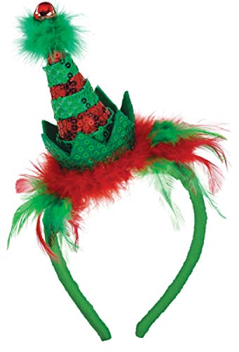 ute Fashion Elf Mini Hat Hairband Sparkly Sequin Feathers Jingle Bell Christmas Xmas Festive Fancy Dress Costume Accessory ()