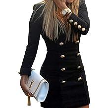 Tongshi Nueva mujer Slim largo manga Bodycon vestido Casual Mini botones